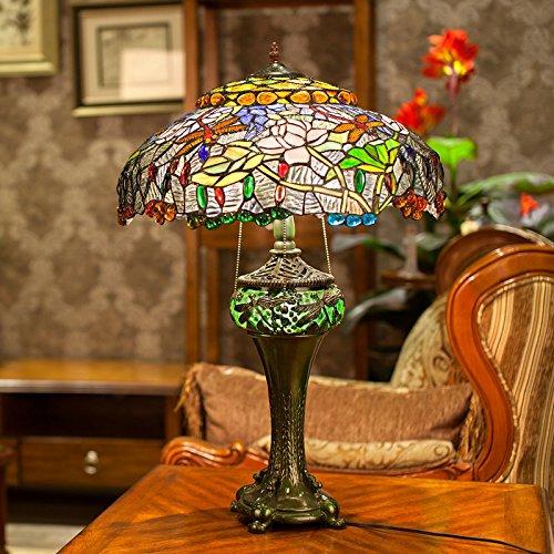 WEITING Amerikanisches Land kreatives Bild Glas Tischlampe / Mittelmeer klassische Tiffany-Stil Libelle Lotus Lampe Wohnzimmer