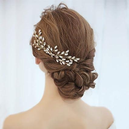 Perlen Hochzeit Haarspangen Clip Vine Crystal Braut Zubehör Kopfschmuck