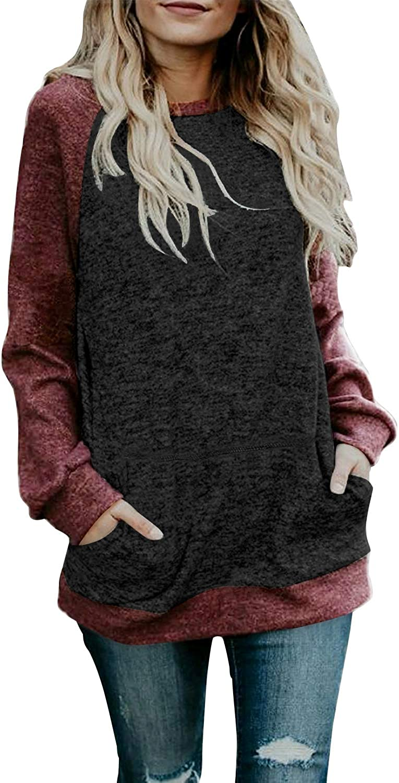 Sudadera Mujer sin Capucha Casual Cuello Redondo Color Block Manga Larga Camiseta Tops Sudadera Blusa Sweatshirt T-Shirt Otoño Invierno