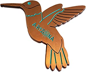 Humming Bird Magnet (Bronze) Decorative Metal Refrigerator Magnet Southwest Gift Idea - Arizona Souvenir