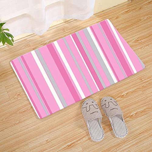 Geometric Welcome Doormat Floor Mat Entrance Rug,Romantic Multi Vertical Stripe, Pink Grey White, Indoor/Outdoor/Front Door/ Entry Way Bathroom Mats Rubber Non Slip Backing - Multi Stripe Square Rug