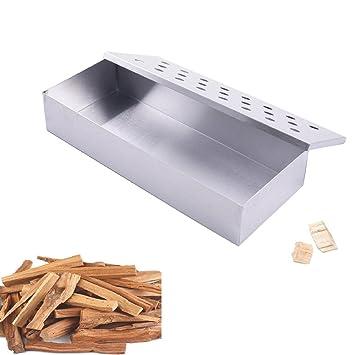 Virutas de madera caja para ahumar barbacoa de carbón y gas para interior al aire libre