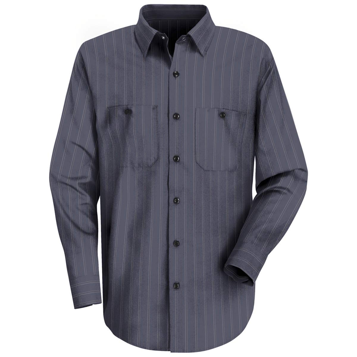 Red Kap 2X Blue With Brown/White Stripe 4.25 Ounce Polyester/Cotton Work Shirt With Button Closure