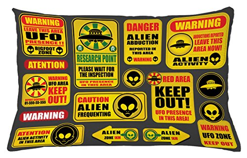 Lunarable Outer Space Throw Pillow Cushion Cover, Warning Ufo Signs with Alien Faces Heads Galactic Theme Paranormal Activity Design, Decorative Accent Pillow Case, 26 W X 16 L Inches, Yellow by Lunarable
