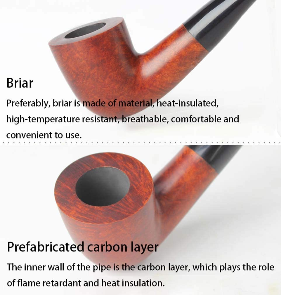 handmade solid wood Zwq/&zj Classic curved tobacco pipe detachable filter mens smoking pipe,A