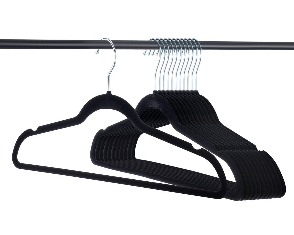 Premium Velvet Hangers Heavy duty - 50 Pack Clothes Hangers - Non slip Black Suit hangers - Clothes Hanger Hook swivel 360 - Ultra Thin