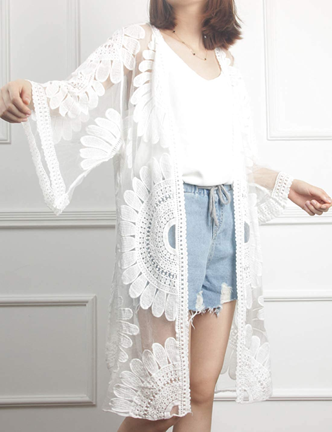 Liengoron Womens Summer Fashion Lace Cardigan Sun Flower Hollow Sun Protection Clothing