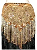 Gold Beaded Shawl/Hip Scarf with Fringe