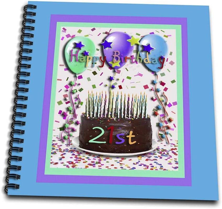 3dRose db_20230_2 Happy Birthday Chocolate Cake 21St-Memory Book, 12 by 12-Inch