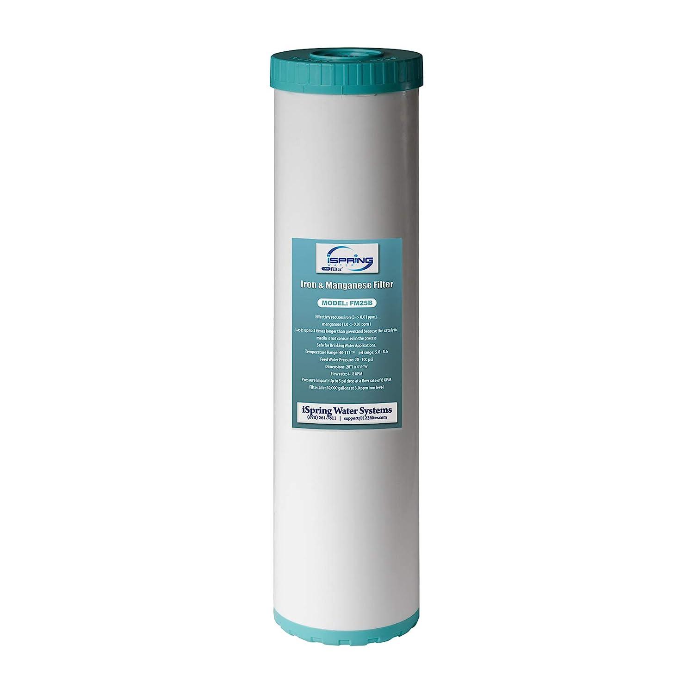 "iSpring FM25B - Iron Manganese Reducing Replacement Water Filter, High Capacity 4.5"" X 20"" Big Blue"
