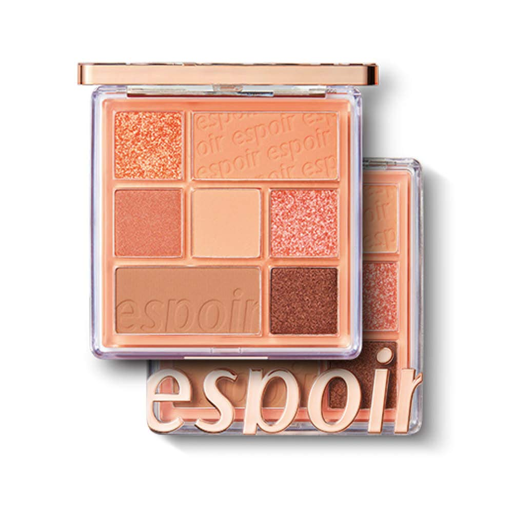 ESPOIR Real Eye Palette #1 Peachy Like (Warm Peach Color Filter) | Multi-Use Long-Lasting Colors with Sparkling Glitter for Eyeshadow Base and Cheeks Makeup