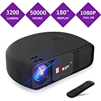 Projector, 3200 lumen Projector (2018 Upgraded Version) Bnest LED Home Video Projector, Multimedia Home Theater projector, Support Fire TV Stick, 1080P HDMI, USB SD Card, VGA, AV, TV, Laptop Game