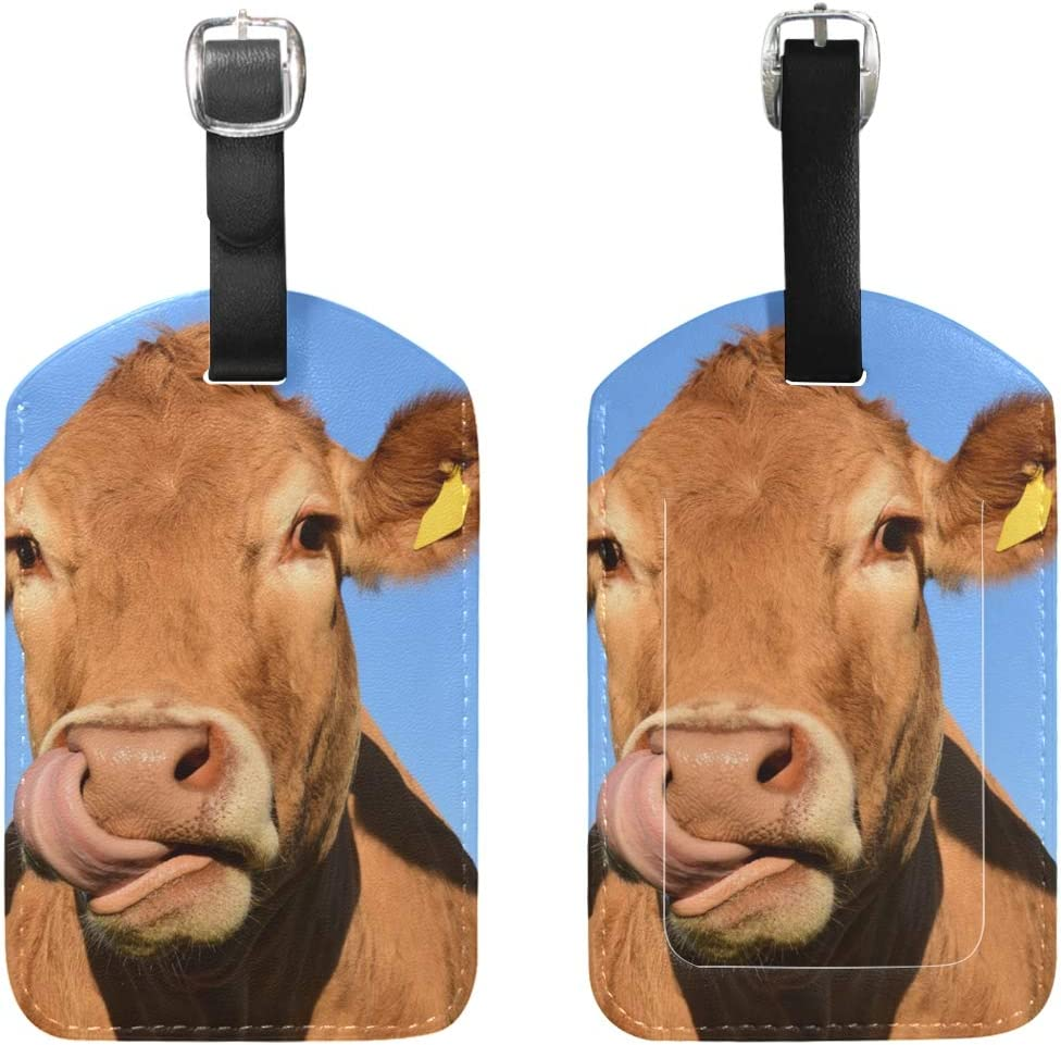Cow Baggage Tag For Travel Bag Suitcase Accessories 2 Pack Luggage Tags