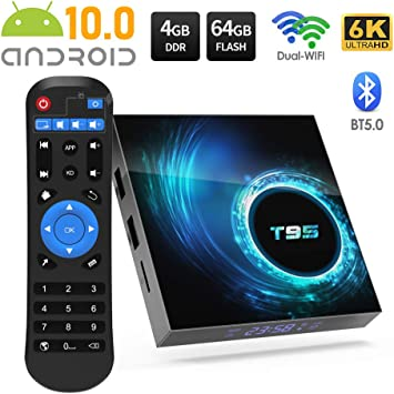 TV Box Android 10.0,Sidiwen T95 Android Box 4GB RAM / 64GB ROM Allwinner H616 Quad-Core Media Play 64bit,Soporte 2.4 / 5.0GHz Dual WiFi Ethernet / Ultra HD6K/3D/H.265/Bluetooth 5.0 Smart TV Box: Amazon.es: