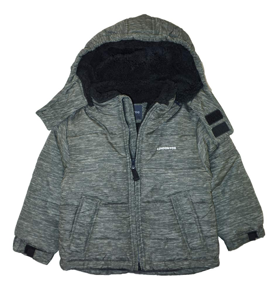 London Fog Boys' Toddler Warm Winter Jacket with Cozy Lining, Olive, 3T