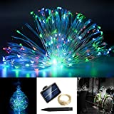 Home Garden Decor Best Deals - RivenAn 8M/26.2ft 120 LED Solar Powered String Lights, Waterproof Copper Wire Starry Lights Flexible Decor Rope Lights for Outdoor Gardens Homes Dancing Christmas Party Decoration (Multi Color)