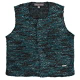 Pompomme Boy's Round Neck teal knit sweater vest w/snap closure (4 Yr)