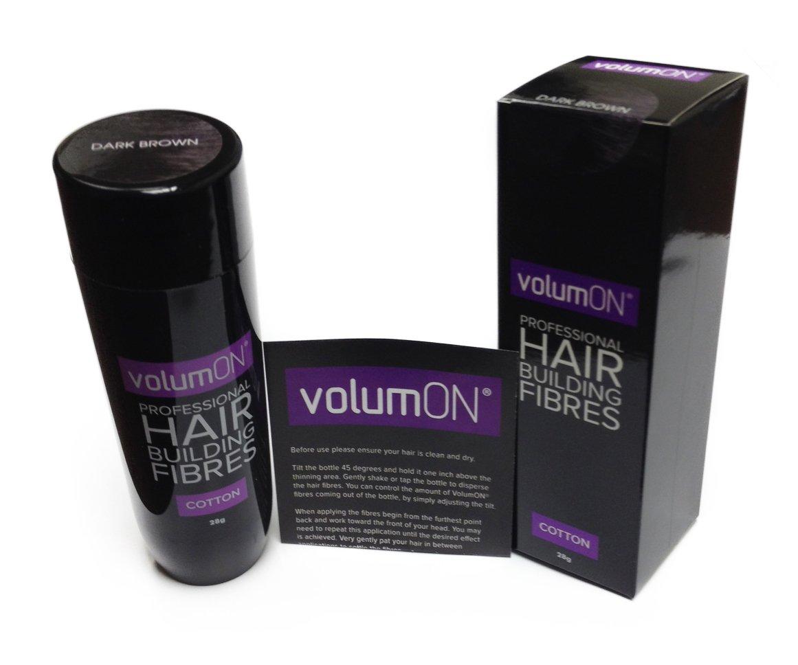 Volumon Professional Hair Gebäude Fibres- Haarausfall Concealer- Baumwoll- 28g- bis zu 30 Holen Sie Gebrauch- VOM 8 HAIR SHADES COLOURS (dunkelbraun) WÄHLEN VOL-HBF-C-28-DB