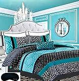 Teen Girls Bedding Damask Leopard Comforter TWIN / TWIN XL Bedspread Black White Teal Aqua Blue Set + Sham + Adorable Throw Pillow + Home Style Brand Sleep Mask Polka Dot Comforters Sets for Girl Kids