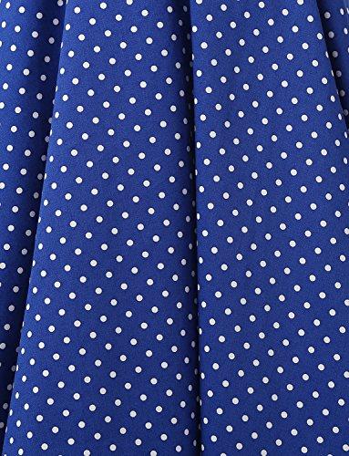 Cuello Flores Fiesta 50s Estampado Vintage Retro Lunares 60s Rockabilly Royal Halter y Vestidos Corto Dressystar Blue Mujer wXqPxvREE
