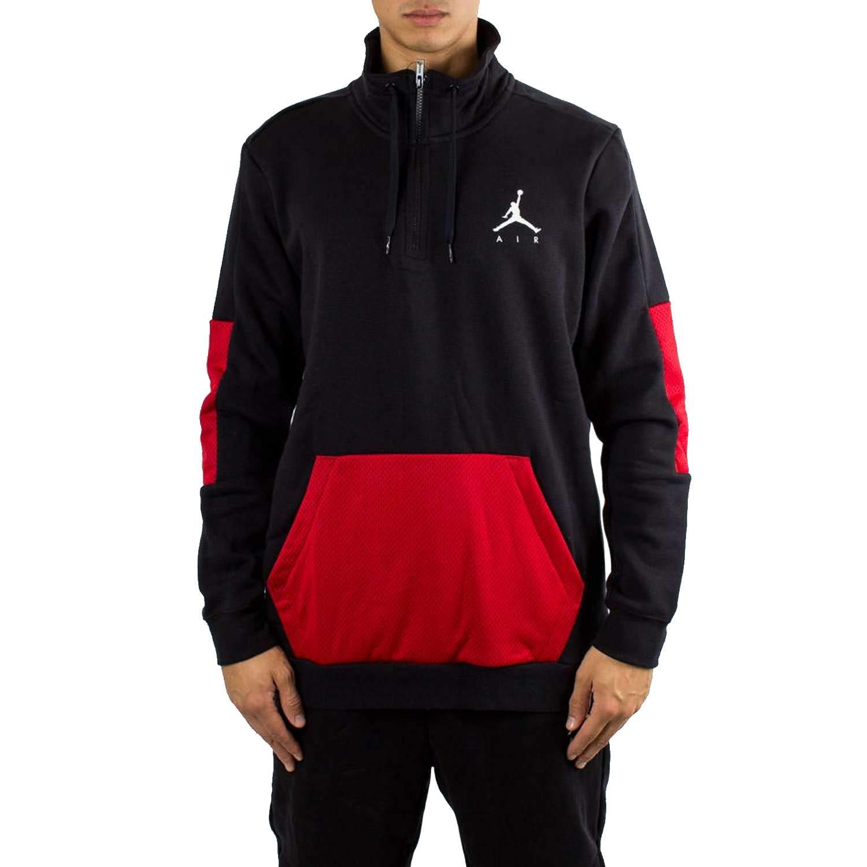 c9203ebc6bdb Amazon.com  Nike Mens Jordan Jumpman Hybrid Fleece 1 4 Zip Black Red-White Size  Large  Clothing