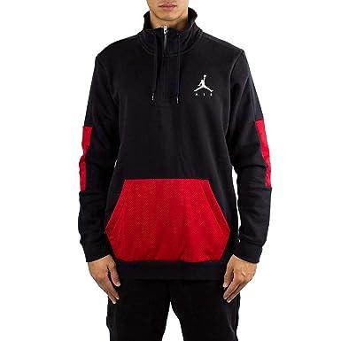 401b9fc5253d85 Image Unavailable. Image not available for. Color  Nike Mens Jordan Jumpman  Hybrid Fleece 1 4 Zip Black Red-White Size