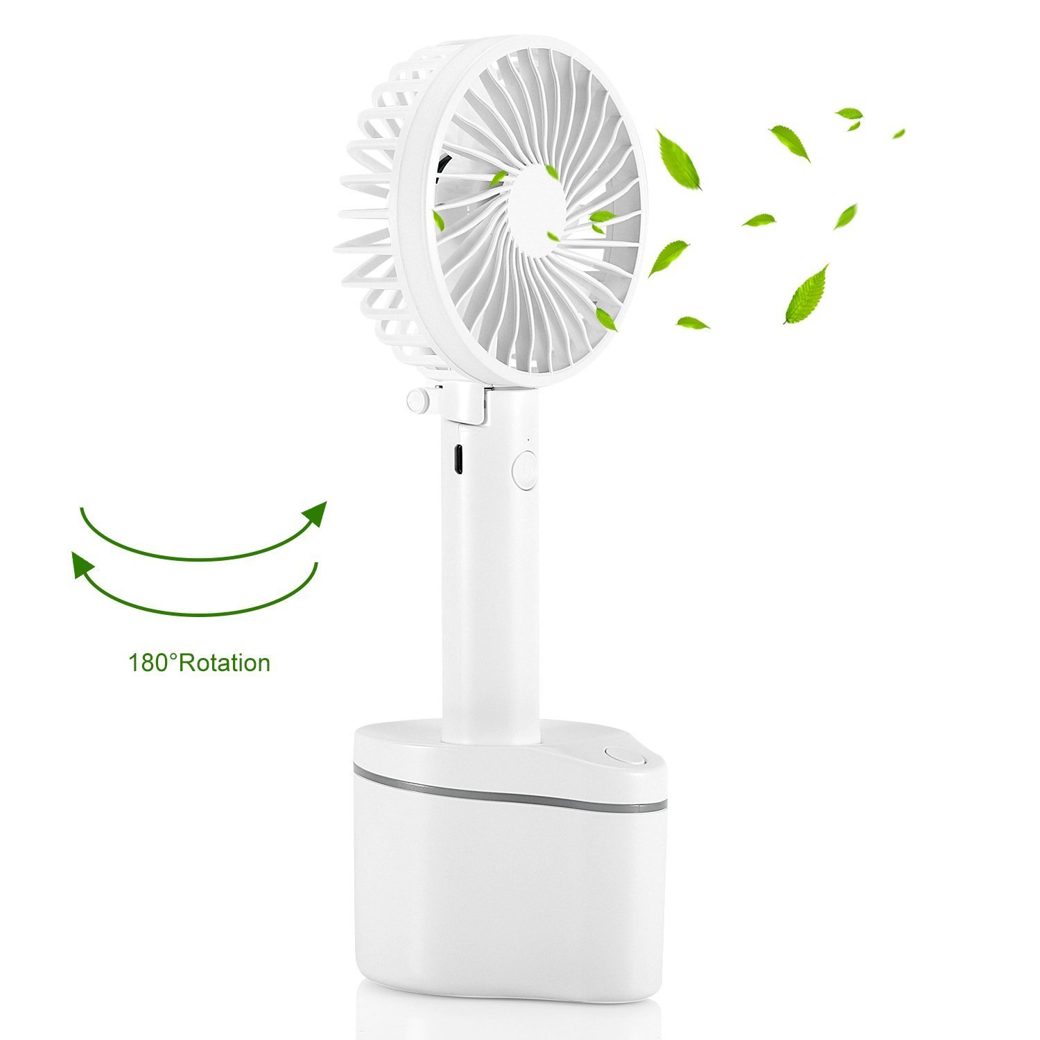 Mini USB Fan, SENDOW Portable Rotating Fan 180 Degree Rotation 2600mAh Capacity Rechargeable Personal Handheld Fan with 5 Speeds for Home, Office, Outdoor, Traveling (White)