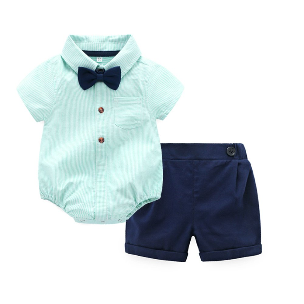 Tem Doger Baby Boys Casual Suit Cotton Short Sleeve Striped Button Down Bowtie Shirt Short Pant Clothes Set Outfit