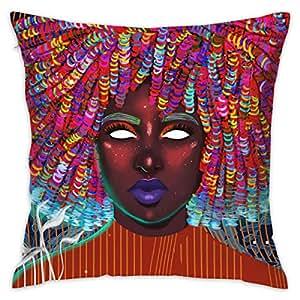 Amazon.com: Orange Afro Girl Women Square Throw Pillow ...