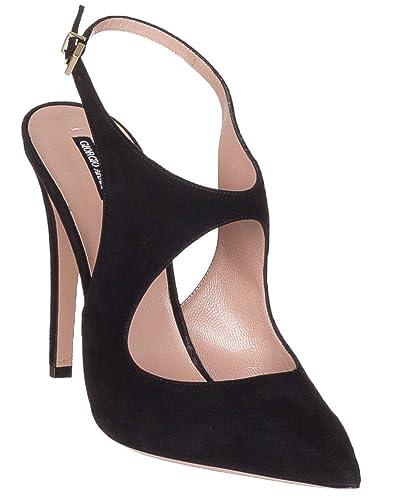 b11ad349f691 Giorgio Armani Women s Black Suede Point Toe Cutout Pumps Heels Shoes