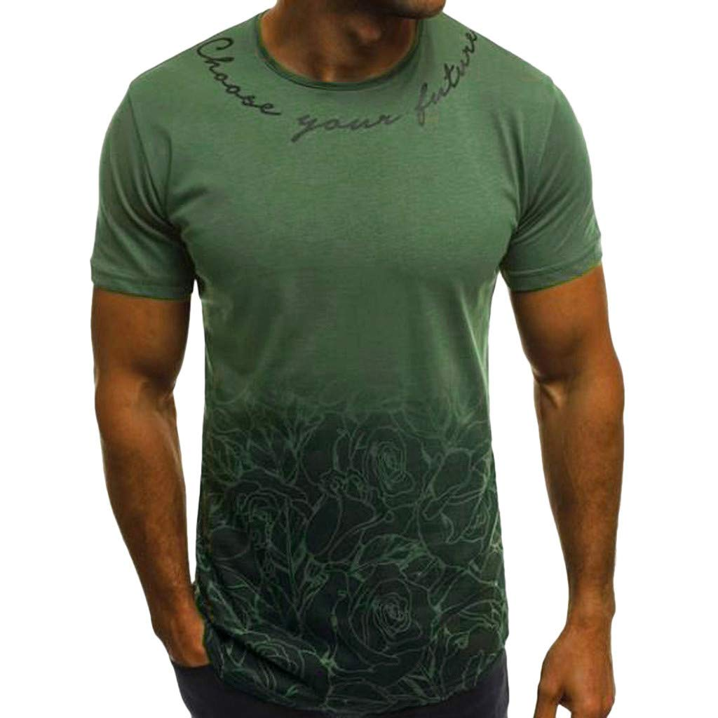 Winsummer Tee Tops Men's Sportstyle Gradient Short Sleeve T-Shirt Crewneck Muscle Premium Tshirt Army Green