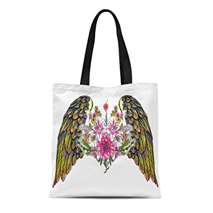 c1598e26a261 Amazon.com: Semtomn Cotton Canvas Tote Bag Flowers Leaves Wings Girl ...