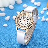 ShiningLove Men Women Couple Figure Diamond-Bordered Waterproof Leather Strap Luminous Quartz Watch Wristwatch