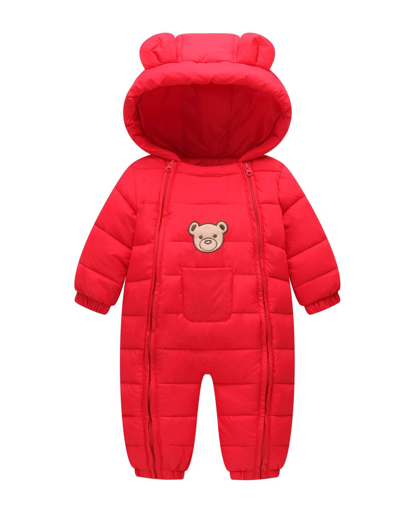 Baby Cotton Snowsuit Windproof Winter Romper Toddler Cute Bear Zipper Jumpsuit Red 100 by Xuvozta