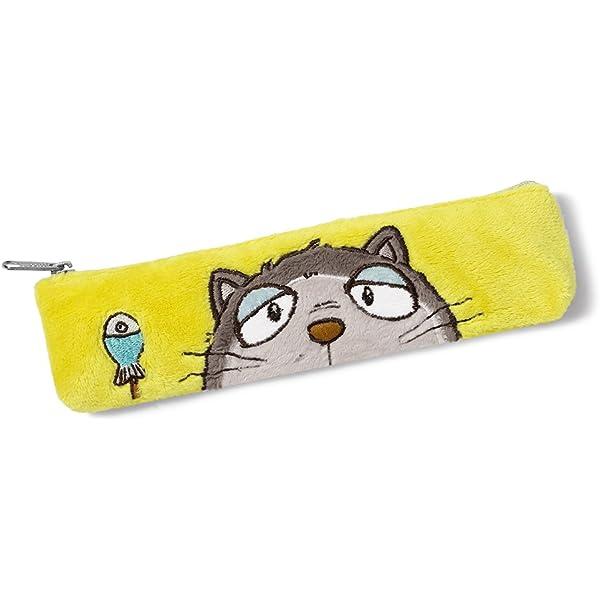 NICI - Estuche plano con diseño de gato, 19 x 5.5 cm, color gris (39042): Amazon.es: Equipaje