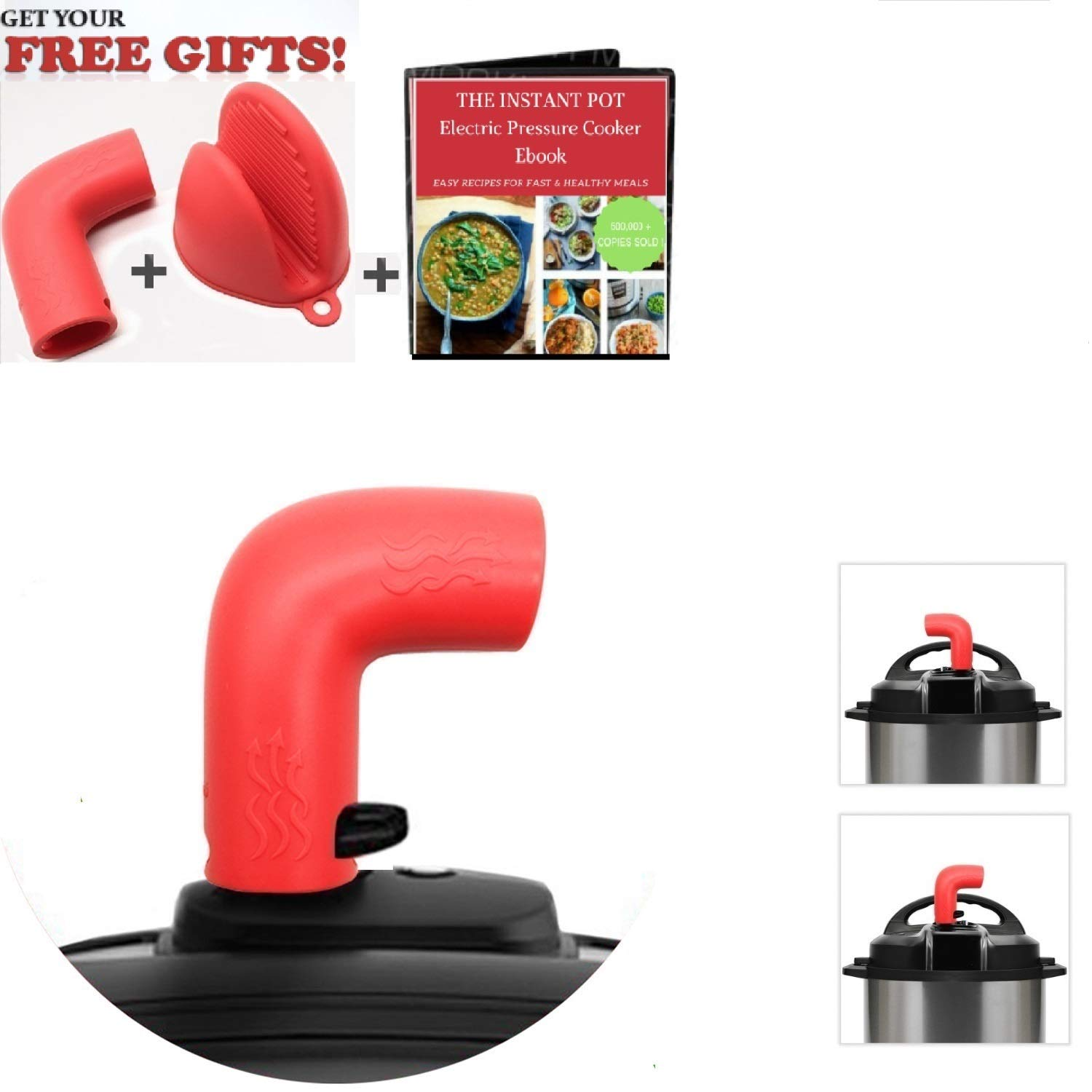 Steam Diverter Silicone Pressure Release Accessory, for Instant Pot Electric Pressure Cooker Duo/Duo Plus Smart Viva Nova Models, with FREE Gifts