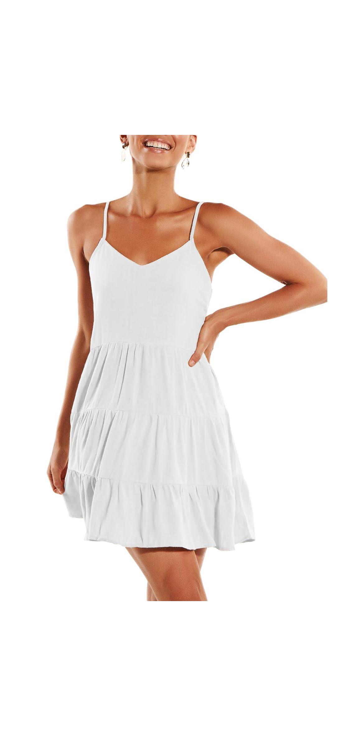 Womens Summer Dresses V Neck Sleeveless Spaghetti Strap T