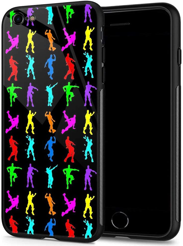 iPhone 6 Cases, Tempered Glass iPhone 6S Case Colorful Little People Pattern Design Black Cover Fashion Case for iPhone 6/6S 4.7-inch Colorful Little People