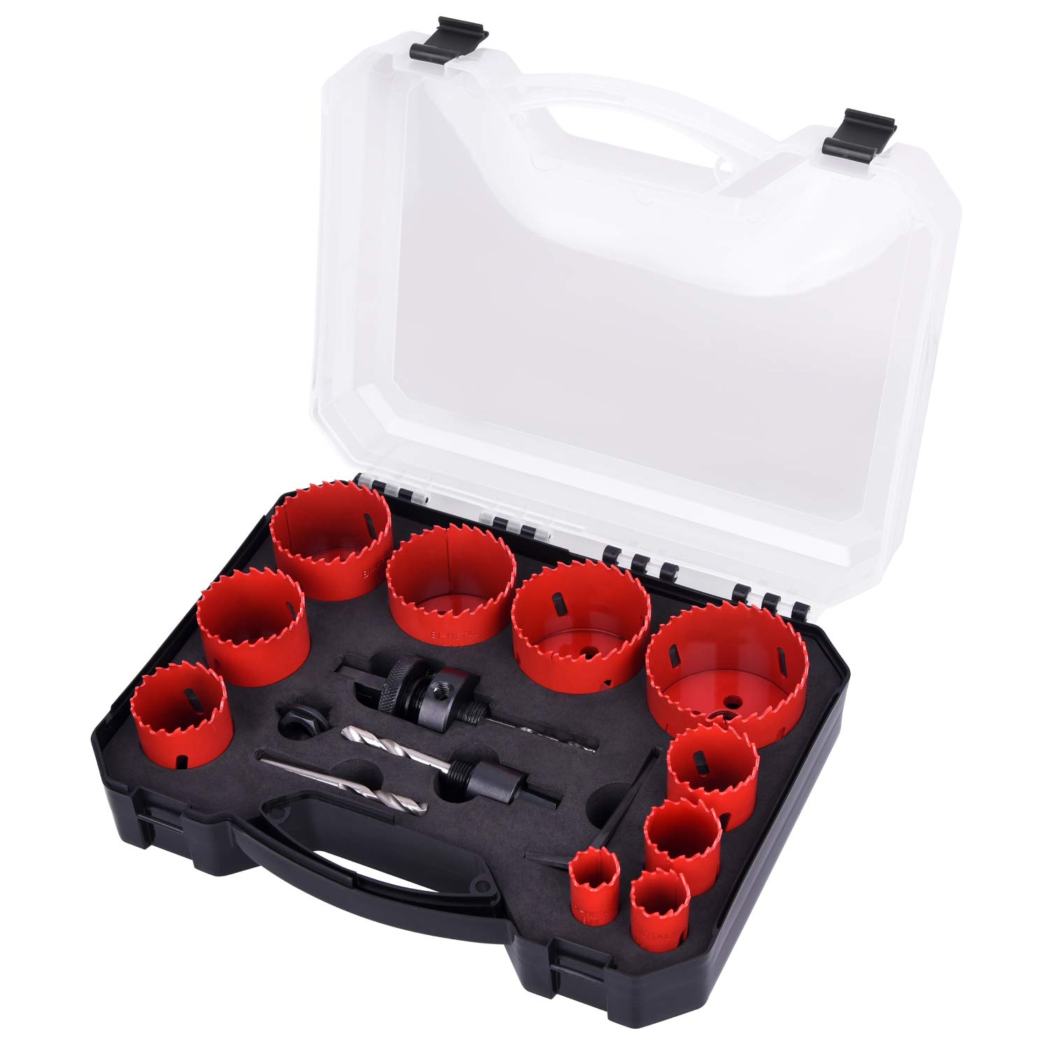 """Bi-Metal Hole Saw Kit, SUNGATOR 14-Piece General Purpose 3/4"""" to 2-1/2"""" Set with Case. Durable High Speed Steel (HSS). Fast Cut Clean, Smooth and Precise Holes Through Metal, Wood, Plastic, Drywall."""