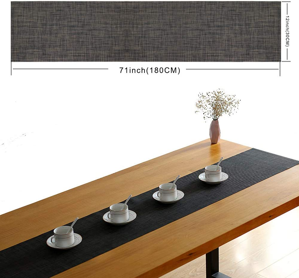 12x72 inch 1 Piece Crossweave Woven PVC Vinyl Heat Resistant Texteline Washable Placemats Table Runners Perfect Accessory to Dress Up Your Dinner Table Candumy Table Runner Black