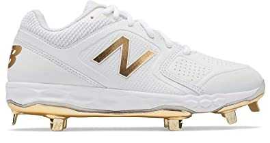 11b351a39fa7e Amazon.com | New Balance SMVELOv1 Fastpitch Metal Cleat Low-Cut - White  Gold | Skateboarding