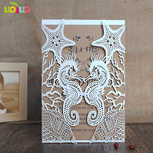 Wedding Card - Wedding Gift Card - 3d Wedding Card - Beach Wedding Invitation Cards Seahorse And Shell Paper Cards Wedding Decorations For -