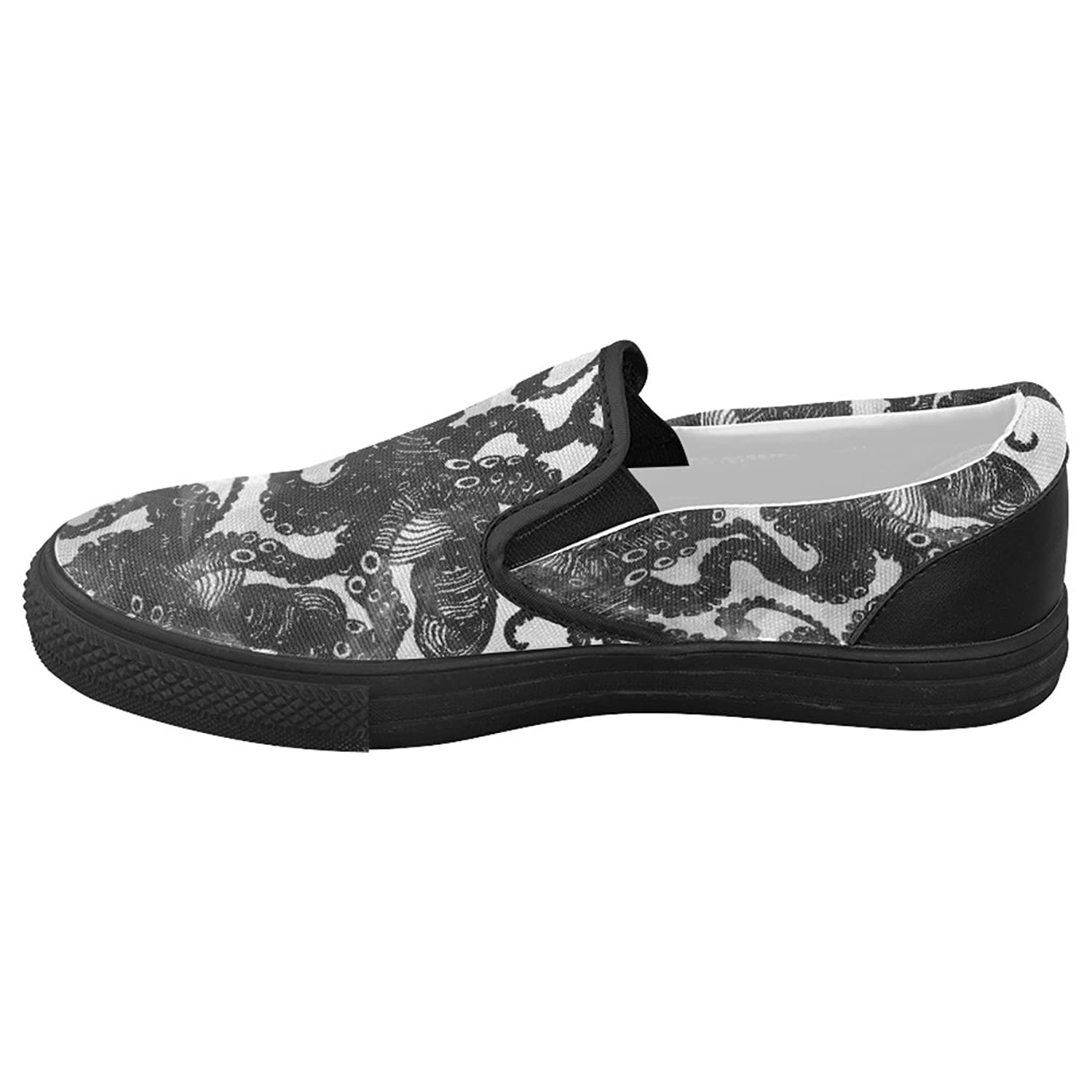 CASECOCO Abstract Octopus Black Canvas Women's Slip On Shoes Fashion Sneakers