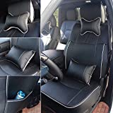 Fly5D PU Leather Car Seat Covers Front Rear Seat Cushion Cover Full Sets Apply for 2009-2017 Dodge RAM 1500 2500 3500 (Black)