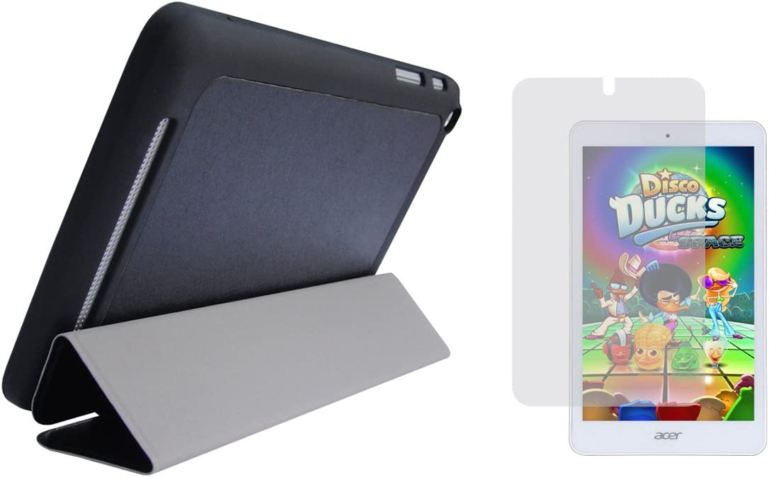 Black Slim Folding Folio Cover Case and Clear Screen Protector for Acer Iconia Tab 8 (Model A1-860 Only)
