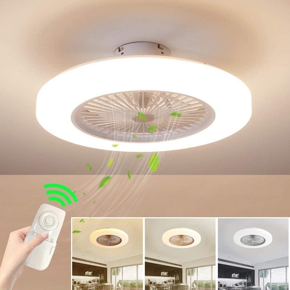 Los ventiladores de techo con iluminación regulable y ventilador de techo a distancia el ruido del ventilador de los niños la creatividad moderna del techo 36W invisible techo de la habitación,White