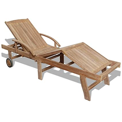 Festnight Outdoor Patio Chaise Lounge Chair Sun Lounger With 2 Wheels  76.8u0026quot; X 23.4u0026quot;