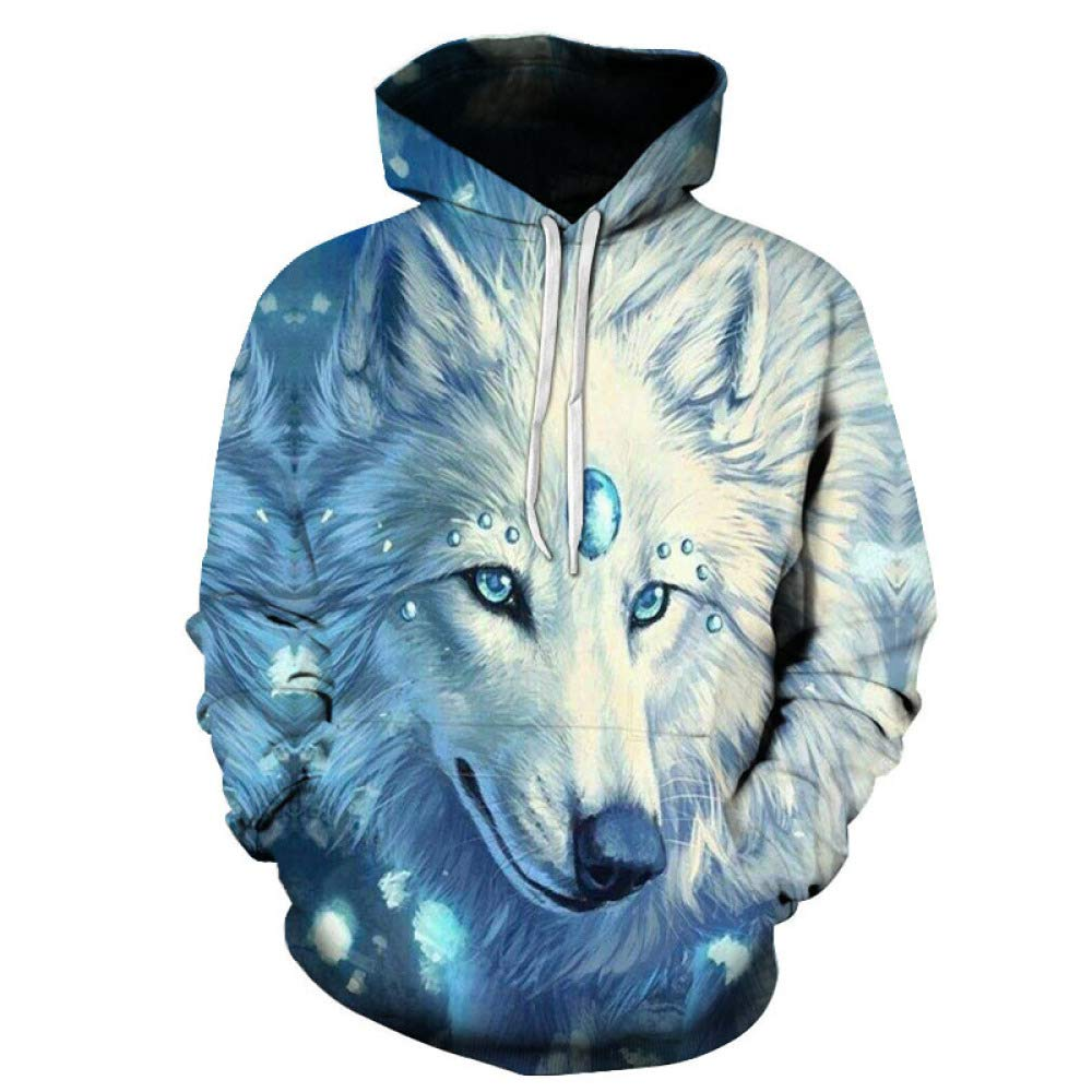 yinghuohuo Red Horned Wolf 3D Hombres Sudadera con Capucha Pareja ...