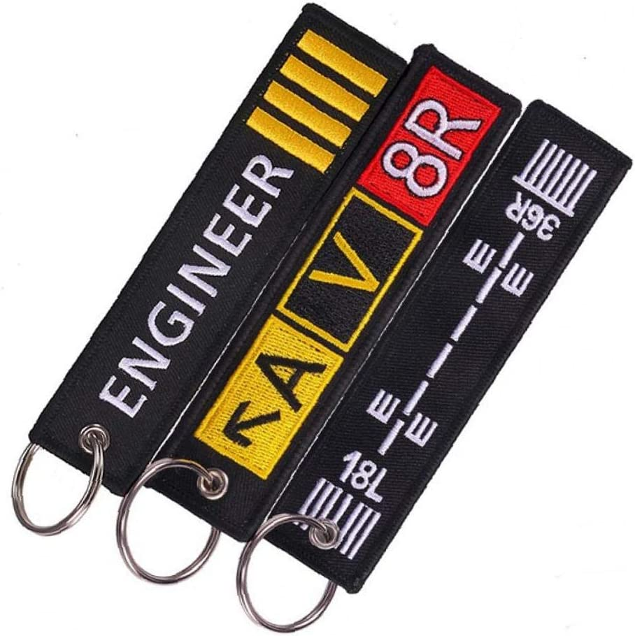 /Étiquette de Bagages Broderie Sac Voyage Fashion Tag avec Porte-cl/és Cadeau sp/écial pour l/équipage de vol de laviation 3pcs