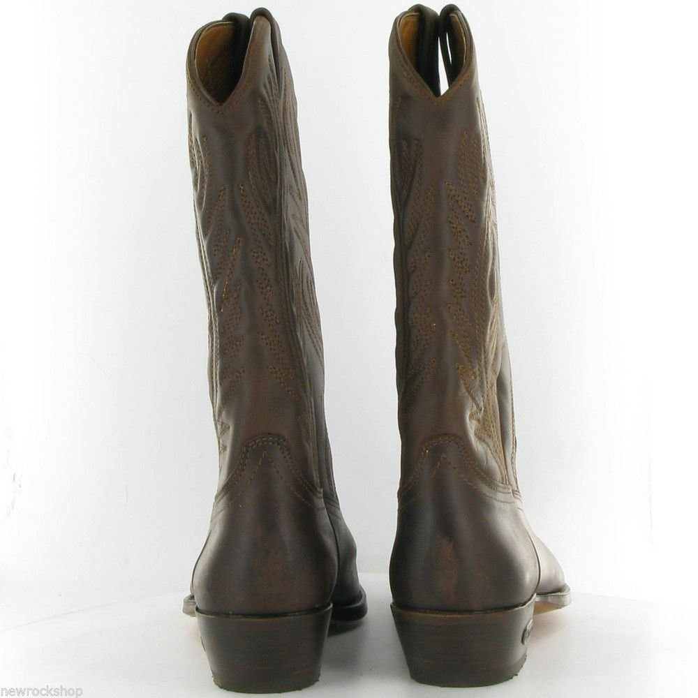 LOBLAN Brown 194 Hand Made Western Waxy Leather Classic Leather Cowboy Boots